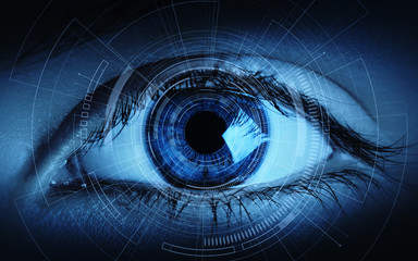 Close up of woman eye in process of scanning. Identification Business Internet Technology Concept