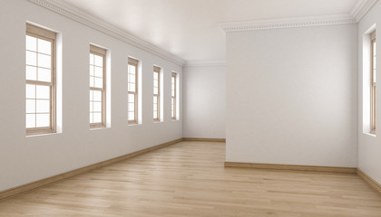 Empty Interior with Oak Wood Flooring and Single Hung Windows