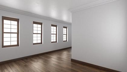 Empty Indoors with Parquet Floor and Wooden Windows