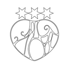 Vector illustration of Heart in style of art Nouveau. Coloring for adults.