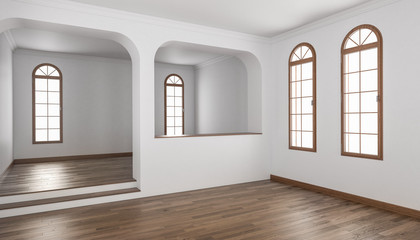 Building Interior with a Half Wall and Raised Floor