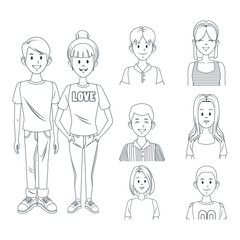 Young friends cartoon icon vector illustration graphic design