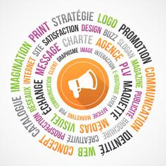 Communication, publicité et marketing - nuage de mots et icône