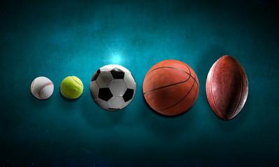 Sport balls in line