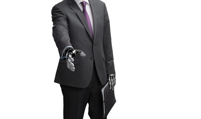 A robot businessman with open hand ready to seal a deal on white background. Focus on a hand.