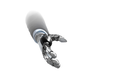Robotic businessman hand approaching for handshake against white background