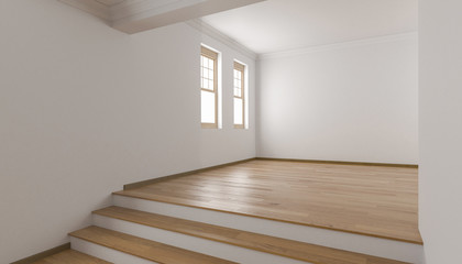 Raised Floor with Single Hung Windows and Steps