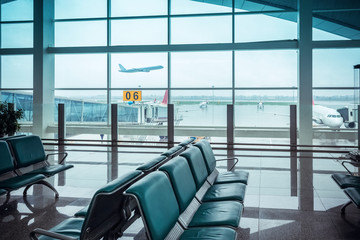 Aluminium Prints Airport airport window view and seat