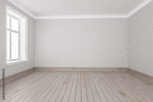 Small Empty Room With Strip Flooring Stock Photo And Royalty Free