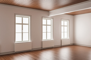 Room with Linear Wood Ceiling and Hardwood Flooring Detail