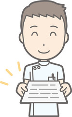 Illustration of a male nurse wearing a white suit with documents