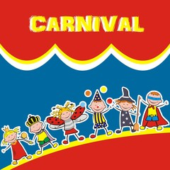 carnival, happy kids, vector icon, banner