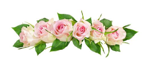 Beautiful white rose flowers line arrangement