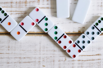 colorful domino on the table