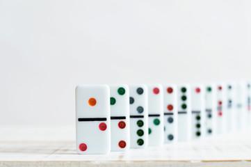 domino row close up