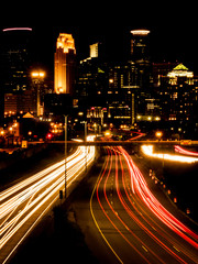 The night scene of downtown Minneapolis and Highway 35W