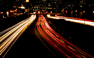 Night scene of the traffics on highway