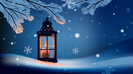Christmas lantern with snowfall in the night background