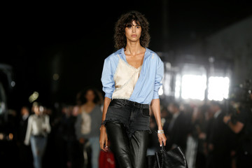 Model presents creations from the Alexander Wang Spring/Summer 2018 collection in New York