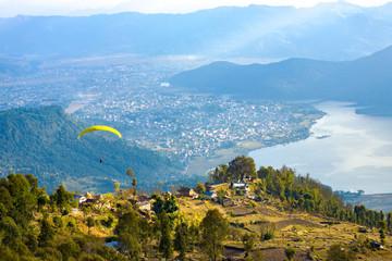 Wall Murals Nepal Pokhara Paraglider Aerial View Phewa Lake Nepal