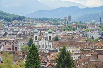 Aerial view of Lucerne cityscape