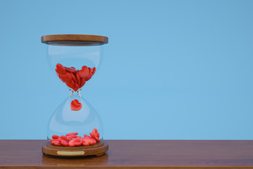 Hourglass and red heart on blue background,3D illustration.