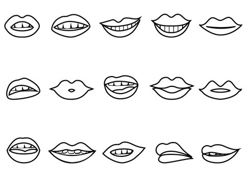 lips outline icon set