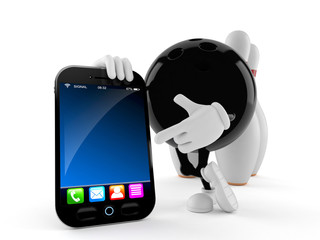 Bowling character with smart phone