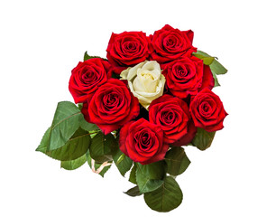 Bouquet of white and red roses. Isolated on white. Top view.