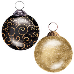 black and gold Christmas baubles