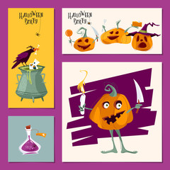 Set of 4 various cards for Halloween party. Template.