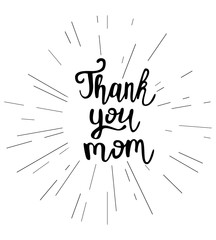 Vector illustration of 'Thank you mom' text