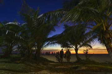 beach at sunrise sunset