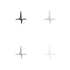 Heart rhythm ekg black and grey set icon .