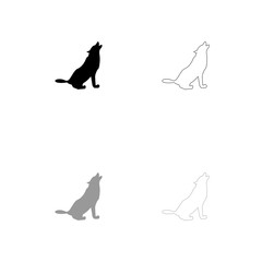 Silhouette of the wolf black and grey set icon .