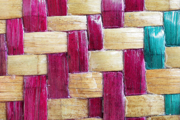 close up of colorful tradition weaving texture as background.