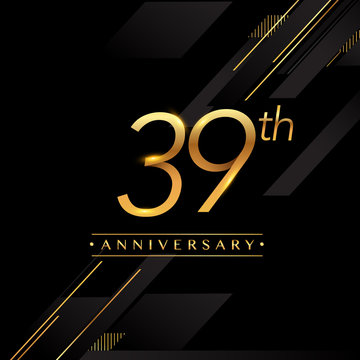 thirty nine years anniversary celebration logotype. 39th anniversary logo golden colored isolated on black background, vector design for greeting card and invitation card.