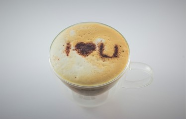 Coffee with i love you message in chocolate