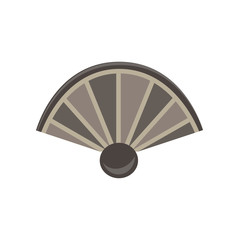 Hand fan flat icon air art Asian design isolated Japan ornate paper sign style symbol vector