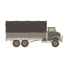 Truck military vintage vector flat vehicle icon isolated auto big car heavy illustration cartoon lorry