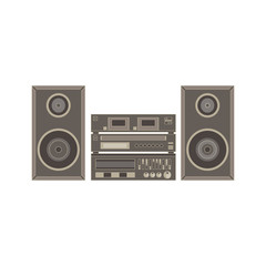 Vector audio system, music center on white, illustration flat icon front view isolated digital