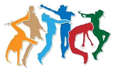 Dancing and Action Moves Silhouettes -various shapes