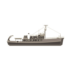 Vector cargo ship flat icon isolated. Vessel container side view illustration.