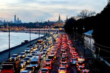 Evening traffic jam near the Moscow Kremlin