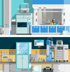 Two Science Laboratory Horizontal Banners