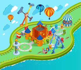 Poster Submarine Amusement Park Isometric Cartoon Composition