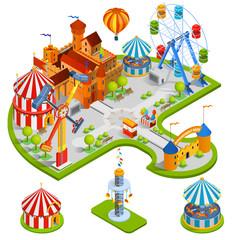 Foto op Aluminium Amusementspark Amusement Park Isometric Composition