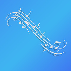 Music notes vector illustration background design blue paper isolated blue classical clef element art