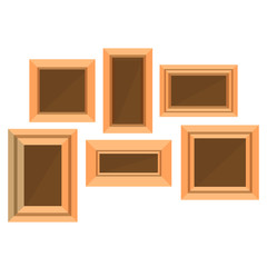 Frame wooden vector picture photo background design empty isolated flat corner gallery border