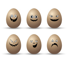 Egg easter character vector cartoon emotion face illustration set happy isolated funny cute